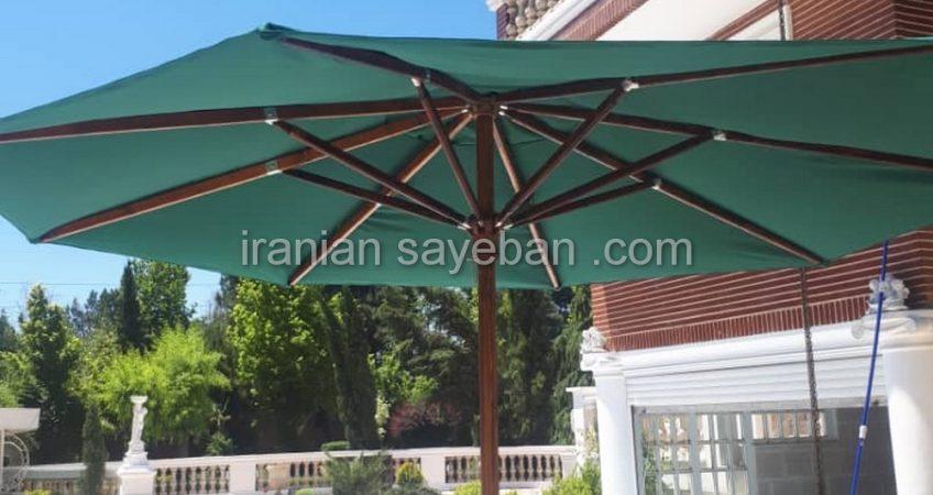 سایبان چتری پایه وسط چوبی